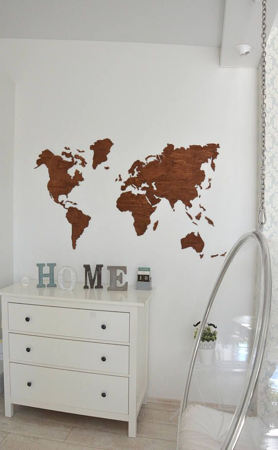 Wall Map of the World Map Wooden Travel Push Pin Rustic ...